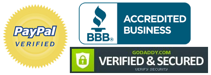 Paypal verified, BBB Accredited, GoDaddy Verified and Secured