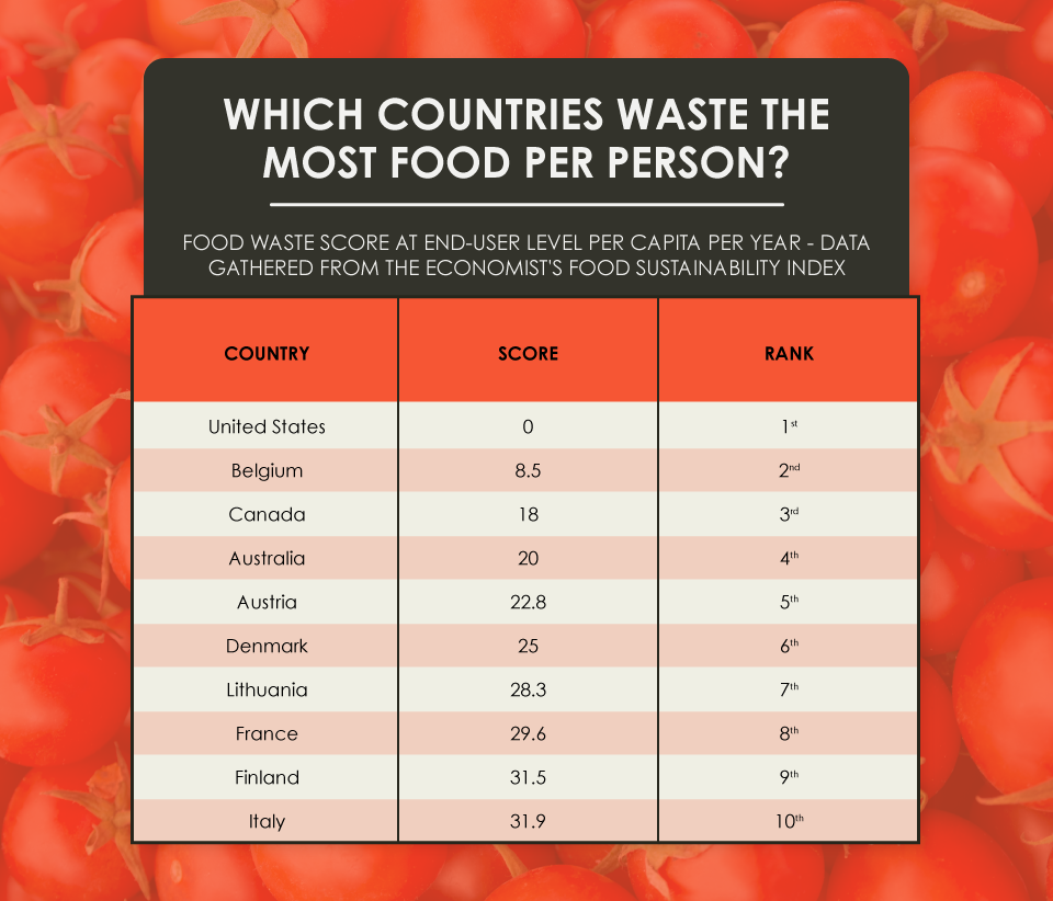 Which Countries Waste the Most Food Per Person