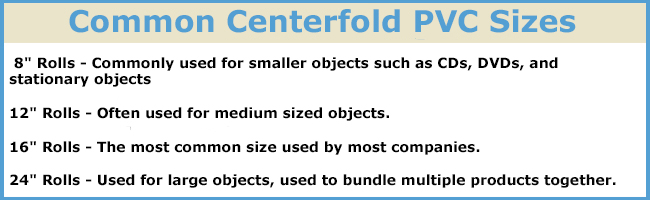 Common Centerfold PVC Shrink Wrap Sizes