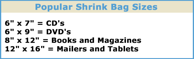 Popular Shrink Bag Sizes