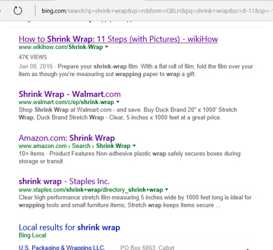 Shrink Wrap Natural Search Results